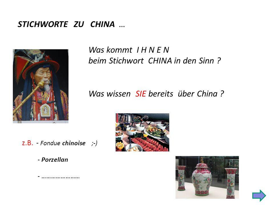 STICHWORTE ZU CHINA … Was kommt I H N E N beim Stichwort CHINA in den Sinn .