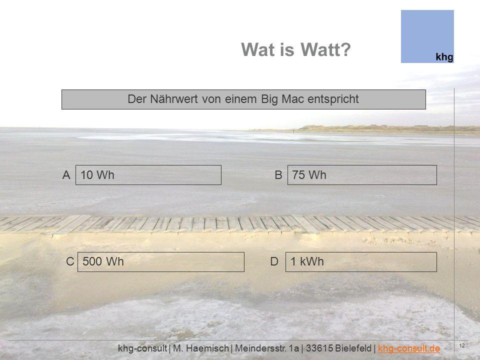 12 Wat is Watt. khg-consult | M. Haemisch | Meindersstr.