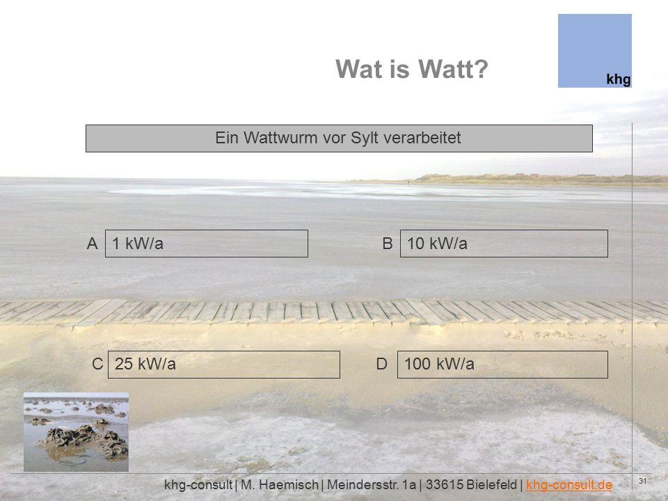 31 Wat is Watt. khg-consult | M. Haemisch | Meindersstr.