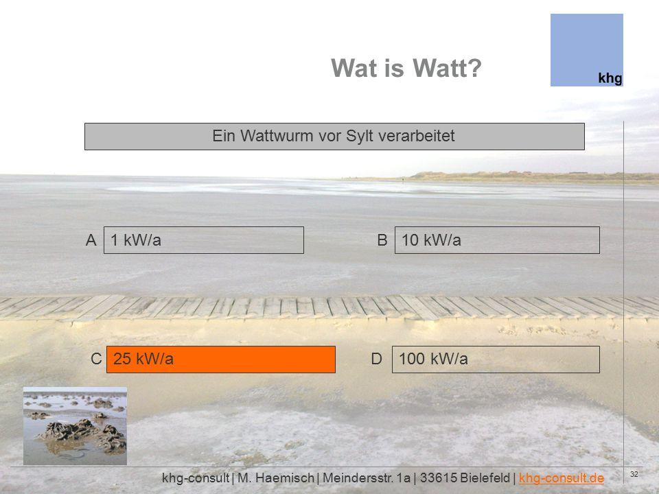 32 Wat is Watt. khg-consult | M. Haemisch | Meindersstr.