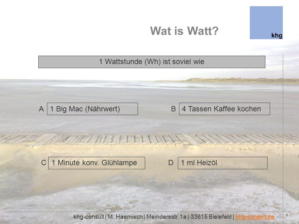 6 Wat is Watt. khg-consult | M. Haemisch | Meindersstr.