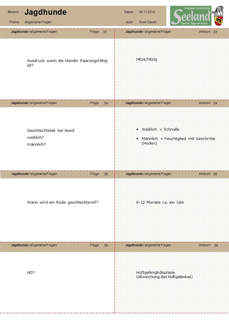 Jagdhunde / allgemeine FragenFrageJagdhunde / allgemeine FragenAntwort Jagdhunde / allgemeine FragenFrageJagdhunde / allgemeine FragenAntwort Jagdhunde / allgemeine FragenFrageJagdhunde / allgemeine FragenAntwort Jagdhunde / allgemeine FragenFrageJagdhunde / allgemeine FragenAntwort Bereich Jagdhunde Datum06.11.2014 ThemaAllgemeine FragenAutorSven Dasen 37 38 40 39 38 39 40 Abführen.
