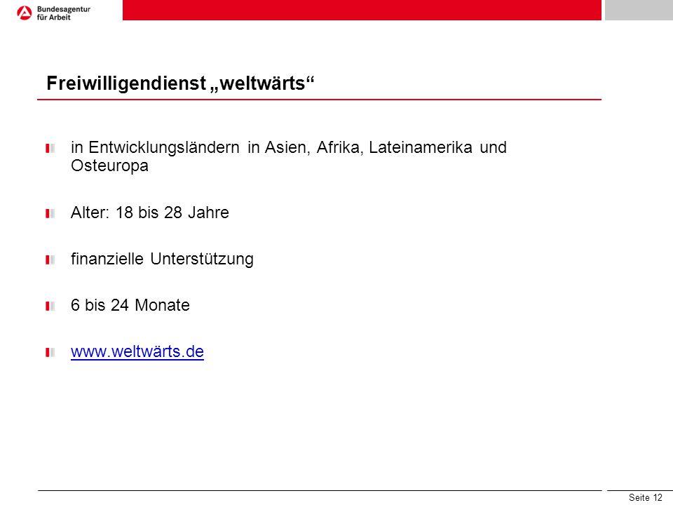 """Seite 12 in Entwicklungsländern in Asien, Afrika, Lateinamerika und Osteuropa Alter: 18 bis 28 Jahre finanzielle Unterstützung 6 bis 24 Monate www.weltwärts.de Freiwilligendienst """"weltwärts"""