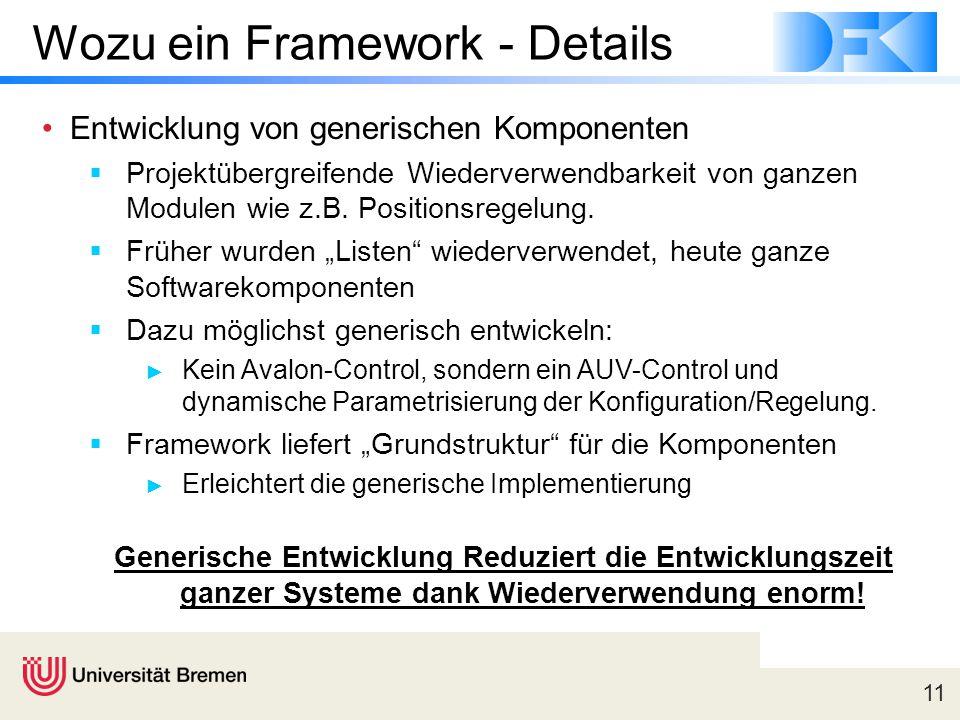 11 Wozu ein Framework - Details Entwicklung von generischen Komponenten  Projektübergreifende Wiederverwendbarkeit von ganzen Modulen wie z.B.
