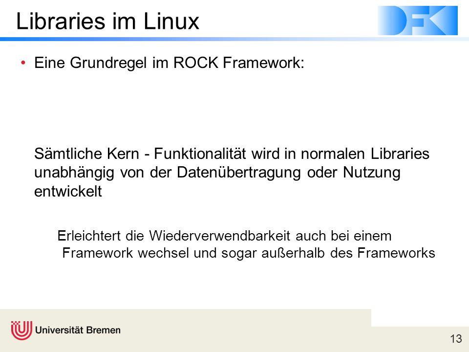 13 Libraries im Linux Eine Grundregel im ROCK Framework: Sämtliche Kern - Funktionalität wird in normalen Libraries unabhängig von der Datenübertragung oder Nutzung entwickelt Erleichtert die Wiederverwendbarkeit auch bei einem Framework wechsel und sogar außerhalb des Frameworks