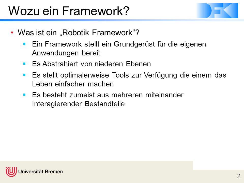 """2 Wozu ein Framework? Was ist ein """"Robotik Framework""""?  Ein Framework stellt ein Grundgerüst für die eigenen Anwendungen bereit  Es Abstrahiert von"""
