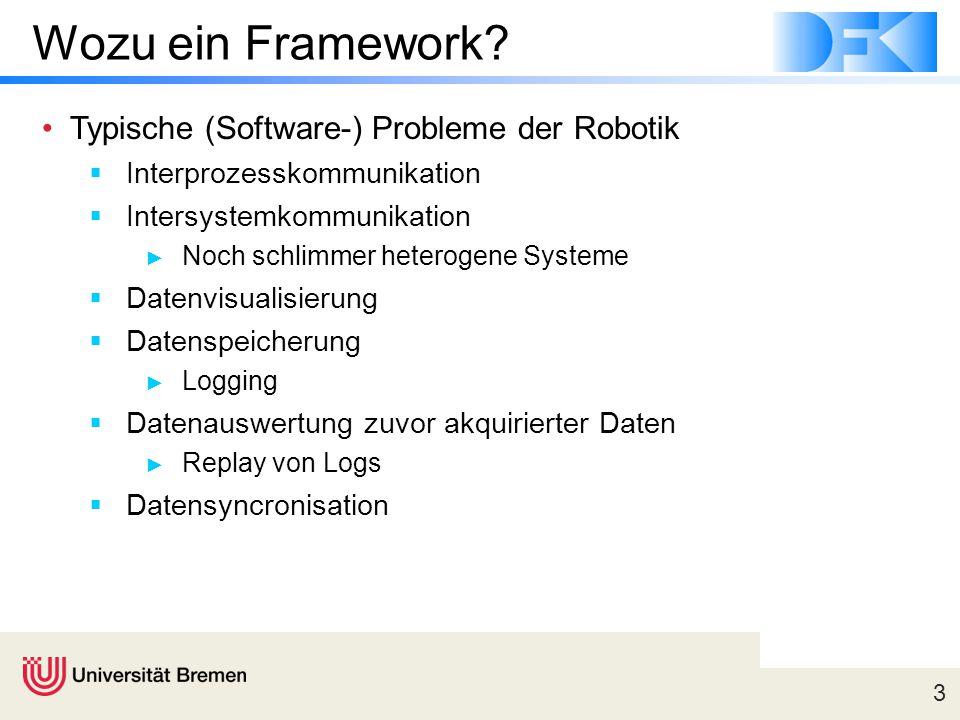 3 Wozu ein Framework? Typische (Software-) Probleme der Robotik  Interprozesskommunikation  Intersystemkommunikation ► Noch schlimmer heterogene Sys