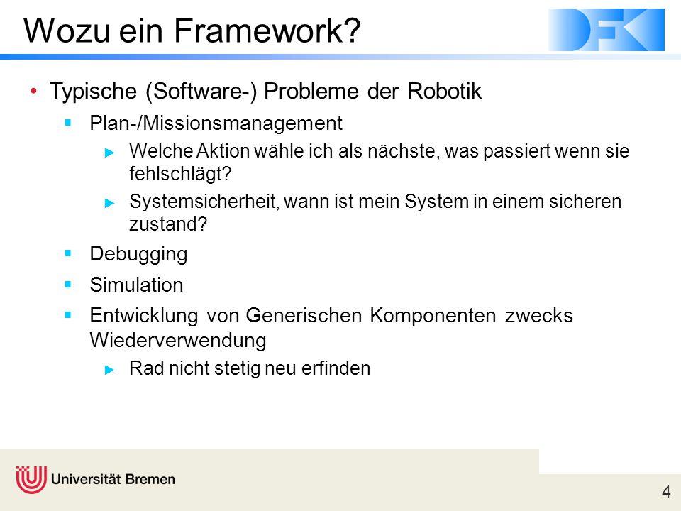 4 Wozu ein Framework? Typische (Software-) Probleme der Robotik  Plan-/Missionsmanagement ► Welche Aktion wähle ich als nächste, was passiert wenn si