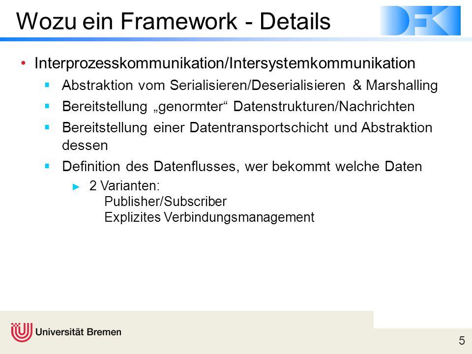 5 Wozu ein Framework - Details Interprozesskommunikation/Intersystemkommunikation  Abstraktion vom Serialisieren/Deserialisieren & Marshalling  Bere