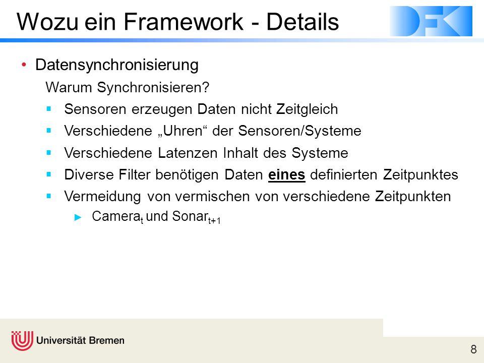 """8 Wozu ein Framework - Details Datensynchronisierung Warum Synchronisieren?  Sensoren erzeugen Daten nicht Zeitgleich  Verschiedene """"Uhren"""" der Sens"""