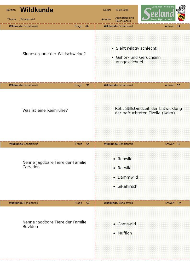 Wildkunde/ SchalenwildFrageWildkunde/ SchalenwildAntwort Wildkunde/ SchalenwildFrageWildkunde/ SchalenwildAntwort Wildkunde/ SchalenwildFrageWildkunde