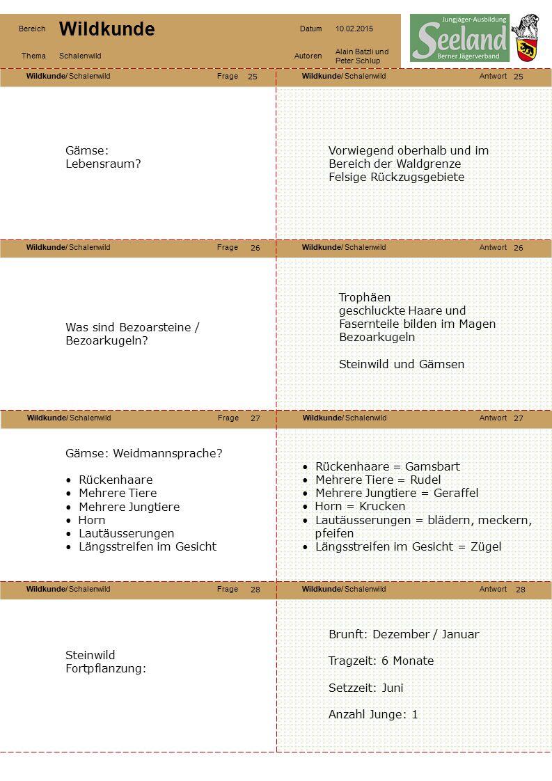 Wildkunde/ SchalenwildFrageWildkunde/ SchalenwildAntwort Wildkunde/ SchalenwildFrageWildkunde/ SchalenwildAntwort Wildkunde/ SchalenwildFrageWildkunde/ SchalenwildAntwort Wildkunde/ SchalenwildFrageWildkunde/ SchalenwildAntwort Bereich Wildkunde Datum10.02.2015 ThemaSchalenwildAutoren Alain Batzli und Peter Schlup 29 30 32 31 30 31 32 Steinwild 1 Haupt11 Krupp 2 Stirn12 Wedel 3 Windfang13 Lauf 4 Bart14 Schale 5 Lauscher15 Blatt 6 Horn 7 Jahrringe 8 Knoten 9 Träger 10 Widerrist Gewicht des Steinwildes.