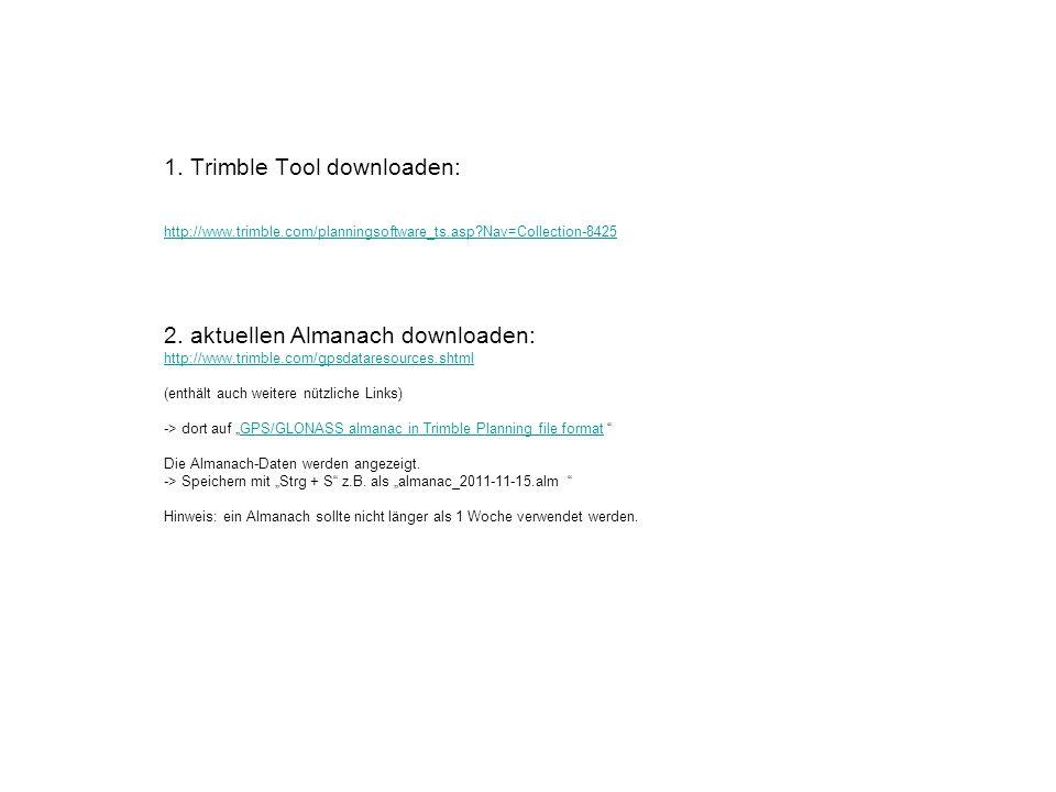 Trimble Planning Tool starten, den Ort einstellen: -> Datei -> Station -> dann Stationsname eingeben (z.B.
