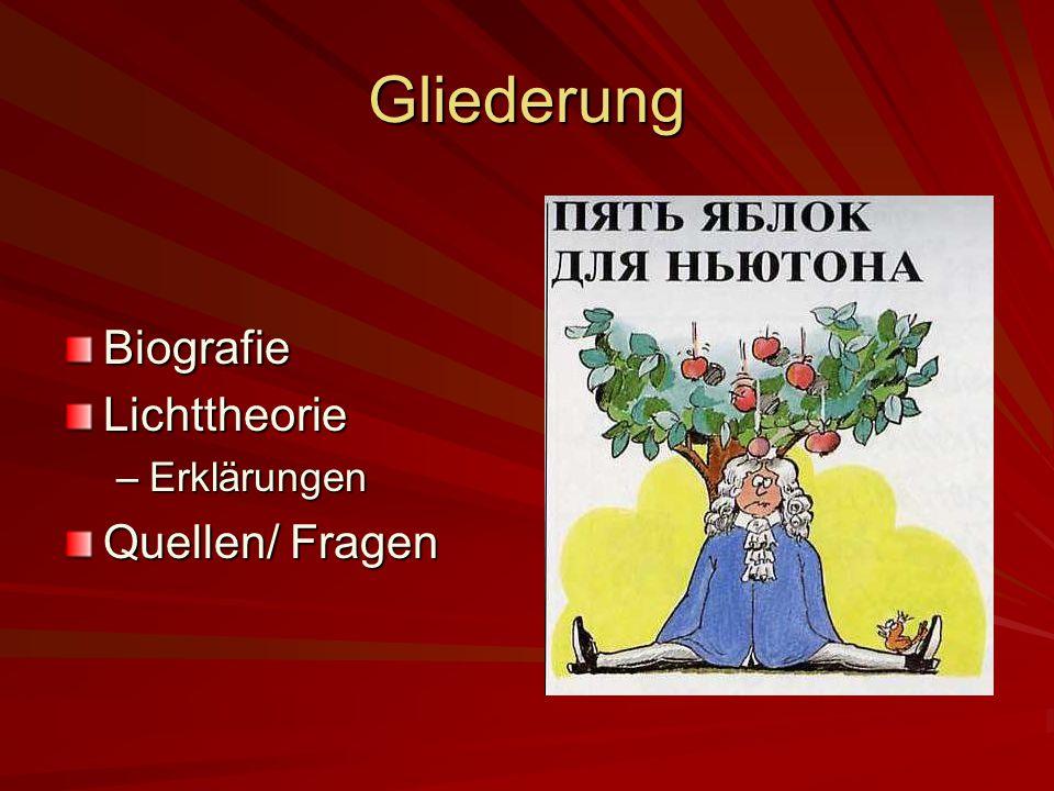 Gliederung BiografieLichttheorie –Erklärungen Quellen/ Fragen