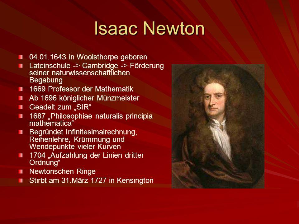 Isaac Newton 04.01.1643 in Woolsthorpe geboren Lateinschule -> Cambridge -> Förderung seiner naturwissenschaftlichen Begabung 1669 Professor der Mathe