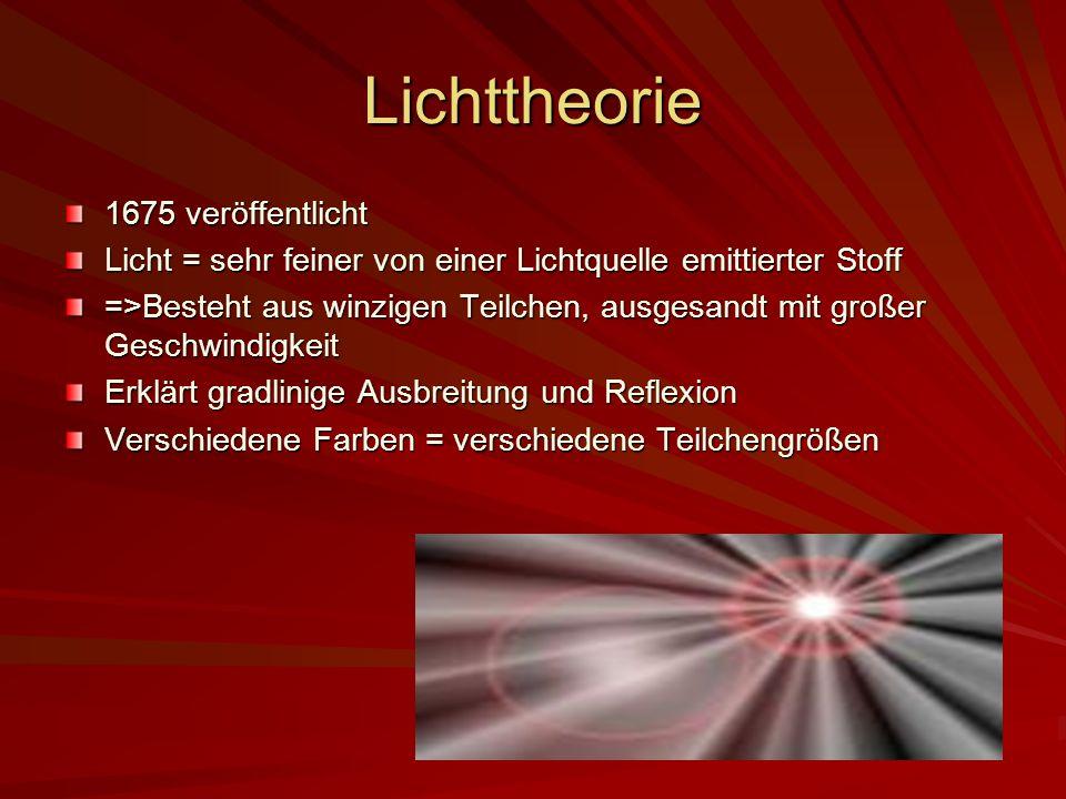 Lichttheorie 1675 veröffentlicht Licht = sehr feiner von einer Lichtquelle emittierter Stoff =>Besteht aus winzigen Teilchen, ausgesandt mit großer Ge