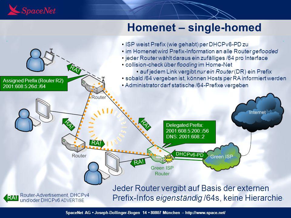 SpaceNet AG Joseph-Dollinger-Bogen 14 80807 München – http://www.space.net/ DP Homenet – single-homed ext DHCPv6-PD Delegated Prefix: 2001:608:5:200::