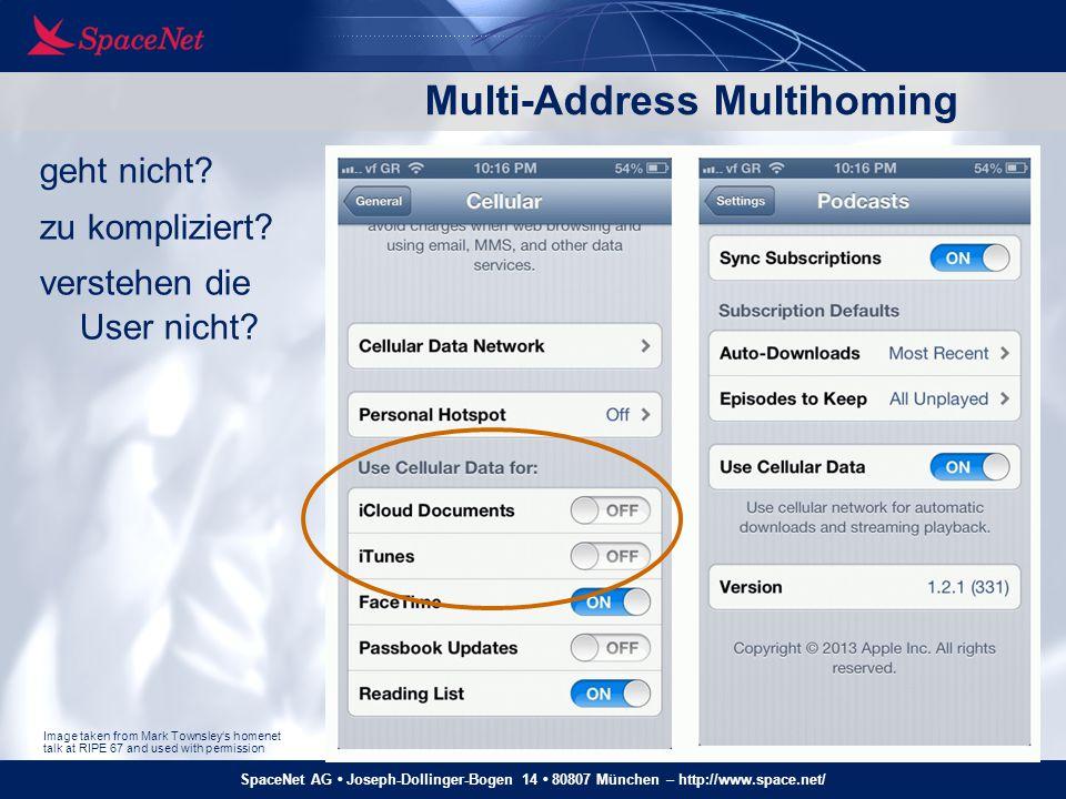 SpaceNet AG Joseph-Dollinger-Bogen 14 80807 München – http://www.space.net/ Multi-Address Multihoming geht nicht? zu kompliziert? verstehen die User n