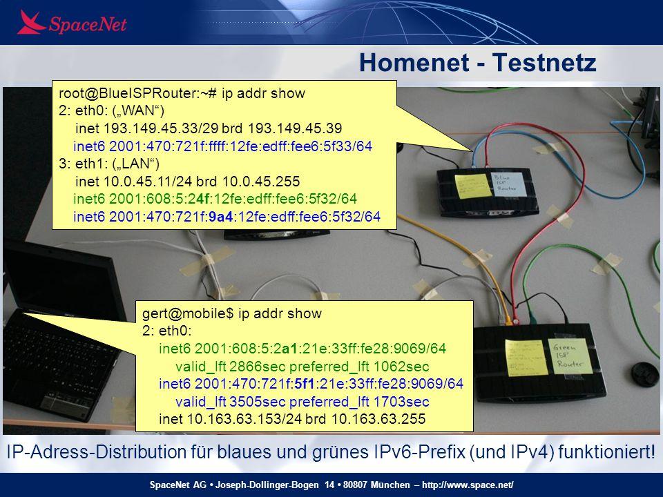 SpaceNet AG Joseph-Dollinger-Bogen 14 80807 München – http://www.space.net/ Homenet - Testnetz IP-Adress-Distribution für blaues und grünes IPv6-Prefi