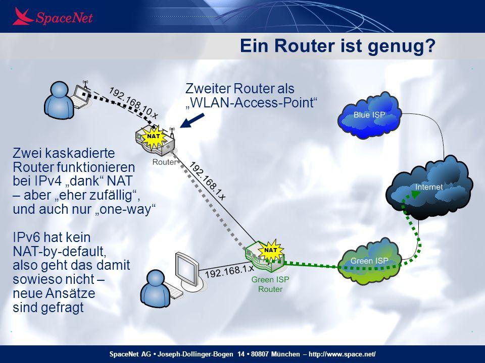 SpaceNet AG Joseph-Dollinger-Bogen 14 80807 München – http://www.space.net/ DP Homenet – single-homed ext DHCPv6-PD Delegated Prefix: 2001:608:5:200::/56 DNS: 2001:608::2 RA.
