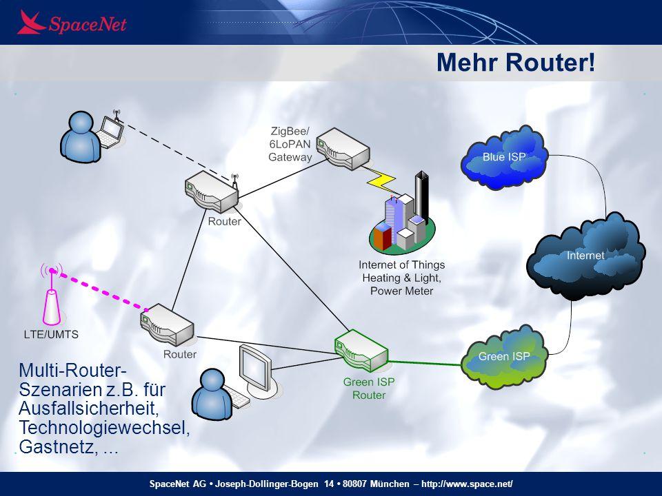 """SpaceNet AG Joseph-Dollinger-Bogen 14 80807 München – http://www.space.net/ Routerkaskade mit IPv6, """"klassisch Router verteilen (immer kleiner werdende) IPv6-Prefixe per DHCPv6-Prefix Delegation (PD) Auf jedem Link ein /64, per RA oder DHCPv6 an Hosts kommuniziert Strikte Top-Down-Struktur nötig Eindeutige Default-Route DHCPv6-PD 2001:608:5::/56 2001:608:5:1::/64 RA: 2001:608:5:0::/64 DHCPv6-PD 2001:608:5:10::/60 DHCPv6-PD."""