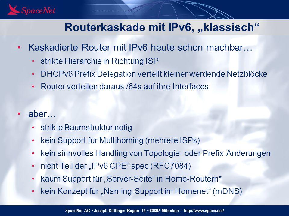 SpaceNet AG Joseph-Dollinger-Bogen 14 80807 München – http://www.space.net/ Homenet – multi-homed: Routing ext default Default-Routing im Homenet muß (wegen ISP- Filter nach BCP38) abhängig von Source-IP sein default Default-Route default Default-Route für grüne Source-IPs Default-Route für blaue Source-IPs 2001:608:5:2a1::beef 2001:470:721f:5f1::babe PCs mit mehreren globalen IPv6-Adressen ISPs mit Source-Adress-Filter (Anti-Spoofing, BCP38) wie funktioniert Default-Routing?