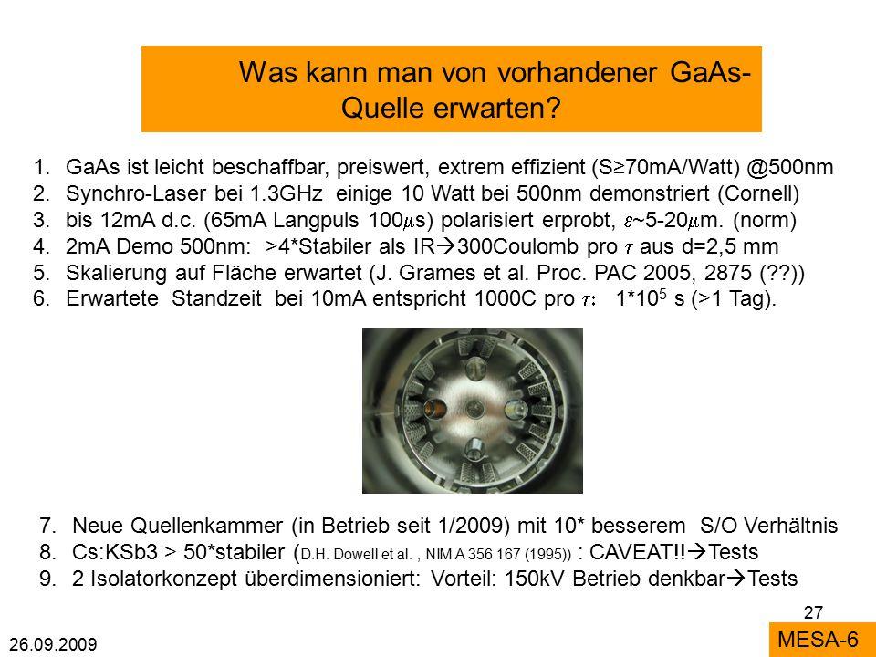 26.09.2009 27 Was kann man von vorhandener GaAs- Quelle erwarten.
