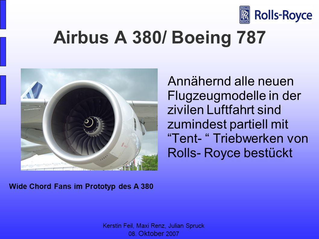 Kerstin Feil, Maxi Renz, Julian Spruck 08. Oktober 2007 Airbus A 380/ Boeing 787 Annähernd alle neuen Flugzeugmodelle in der zivilen Luftfahrt sind zu