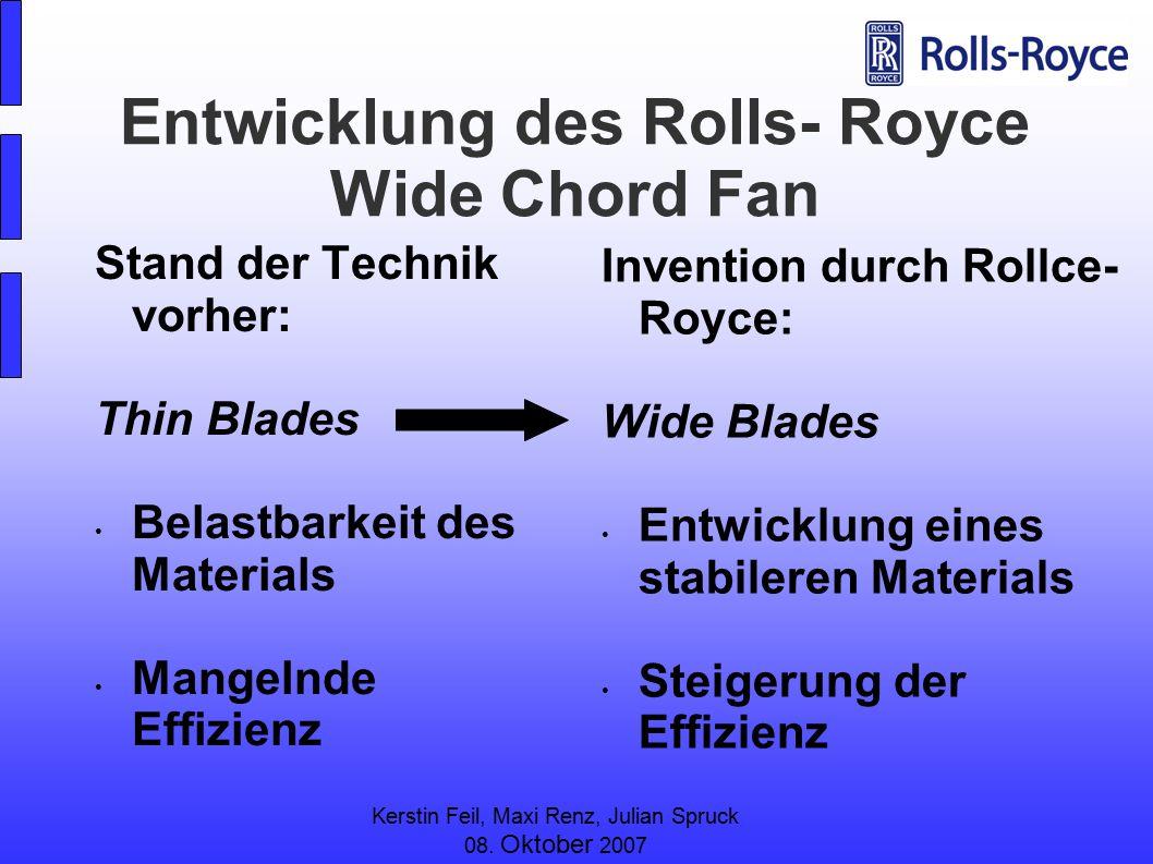 Kerstin Feil, Maxi Renz, Julian Spruck 08. Oktober 2007 Entwicklung des Rolls- Royce Wide Chord Fan Stand der Technik vorher: Thin Blades Belastbarkei