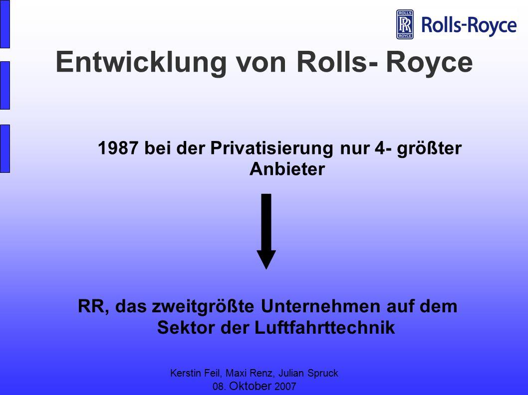 Kerstin Feil, Maxi Renz, Julian Spruck 08. Oktober 2007 Entwicklung von Rolls- Royce RR, das zweitgrößte Unternehmen auf dem Sektor der Luftfahrttechn
