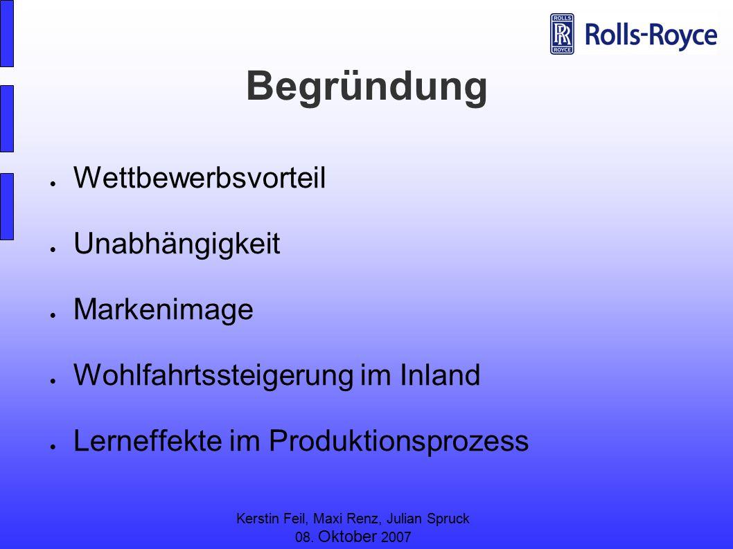 Kerstin Feil, Maxi Renz, Julian Spruck 08. Oktober 2007 Begründung  Wettbewerbsvorteil  Unabhängigkeit  Markenimage  Wohlfahrtssteigerung im Inlan
