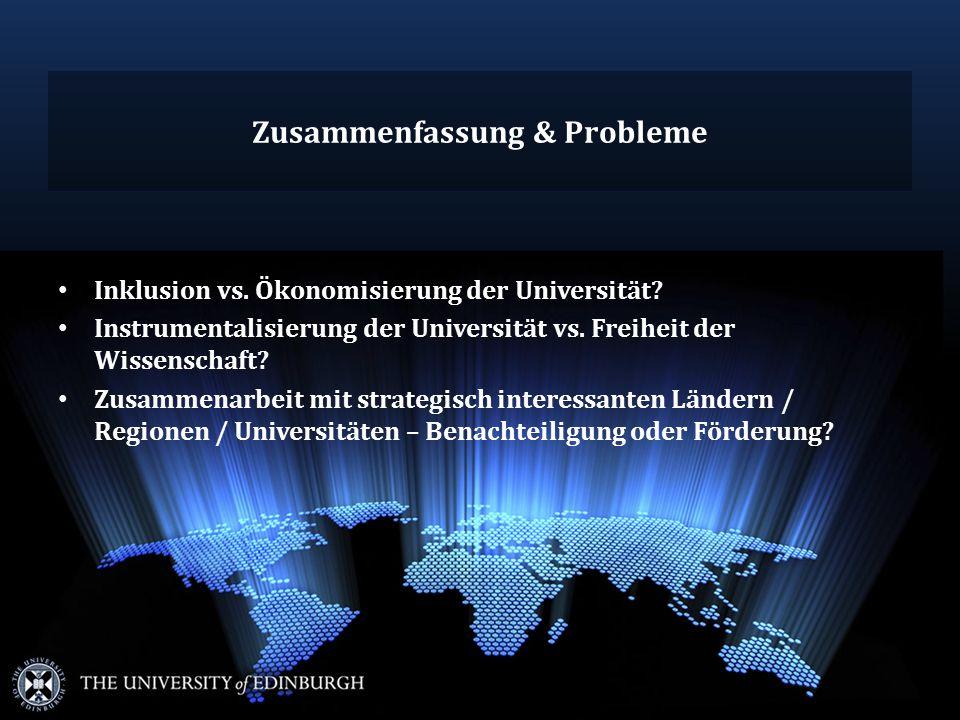 Zusammenfassung & Probleme Inklusion vs. Ökonomisierung der Universität.