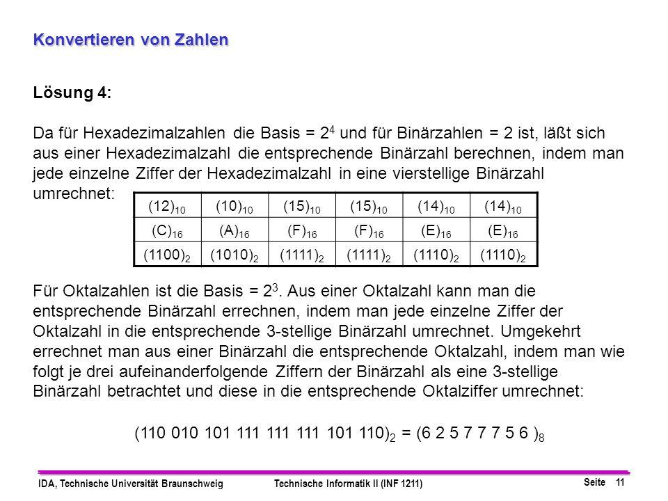 Seite 11 IDA, Technische Universität BraunschweigTechnische Informatik II (INF 1211) Konvertieren von Zahlen Lösung 4: Da für Hexadezimalzahlen die Ba