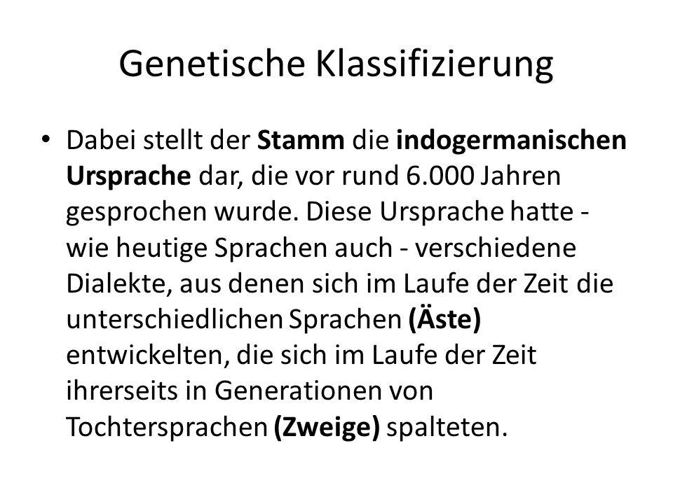 Genetische Klassifizierung Dabei stellt der Stamm die indogermanischen Ursprache dar, die vor rund 6.000 Jahren gesprochen wurde.
