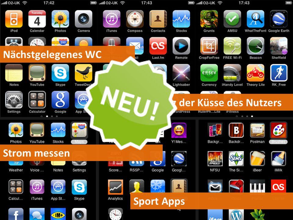 Nächstgelegenes WC Bewertung der Küsse des Nutzers Strom messen Sport Apps