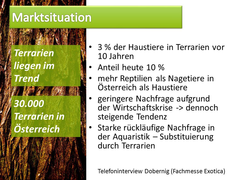 3 % der Haustiere in Terrarien vor 10 Jahren Anteil heute 10 % mehr Reptilien als Nagetiere in Österreich als Haustiere geringere Nachfrage aufgrund der Wirtschaftskrise -> dennoch steigende Tendenz Starke rückläufige Nachfrage in der Aquaristik – Substituierung durch Terrarien Telefoninterview Dobernig (Fachmesse Exotica) Terrarien liegen im Trend 30.000 Terrarien in Österreich