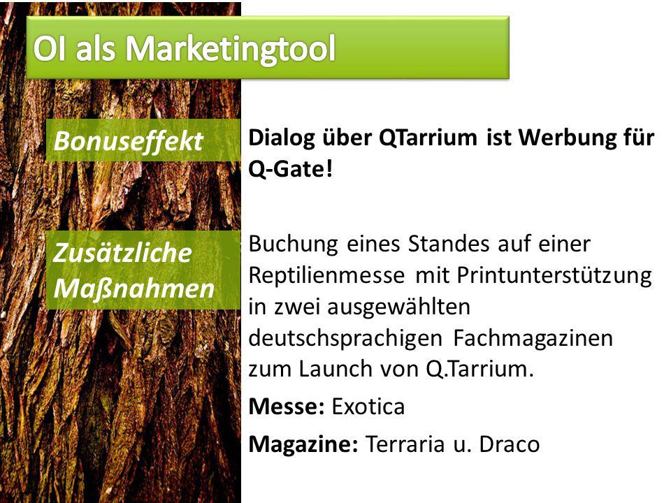 Dialog über QTarrium ist Werbung für Q-Gate.