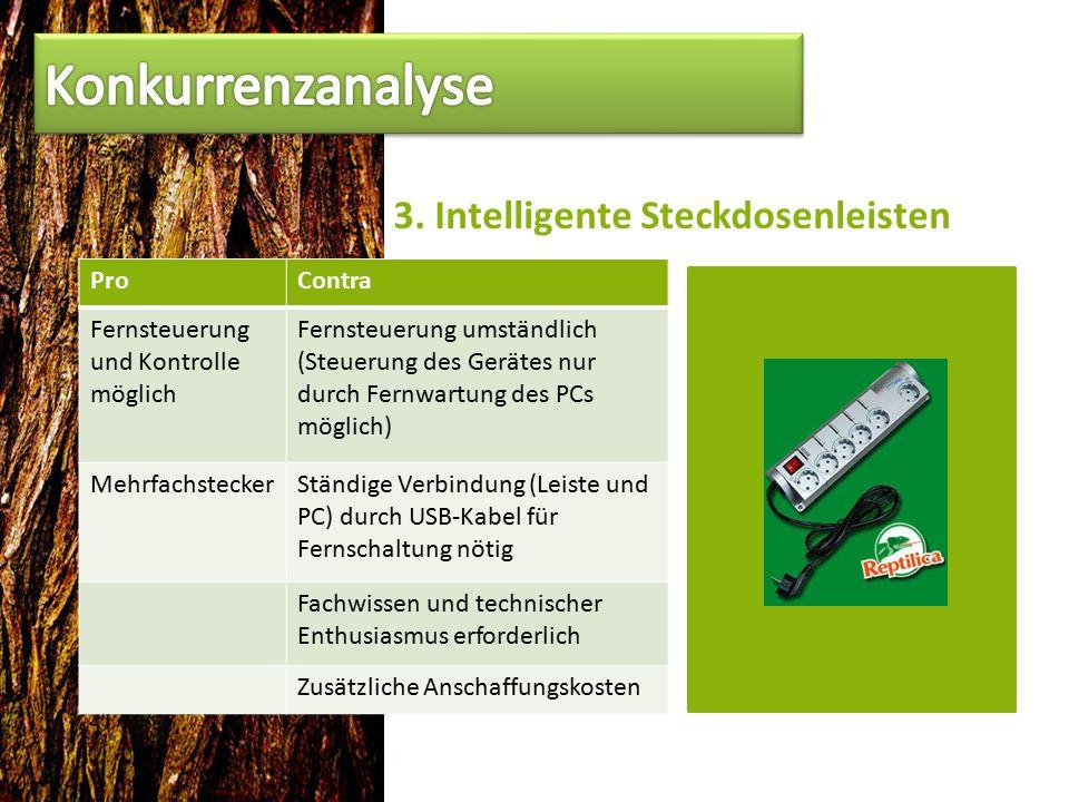 3. Intelligente Steckdosenleisten ProContra Fernsteuerung und Kontrolle möglich Fernsteuerung umständlich (Steuerung des Gerätes nur durch Fernwartung