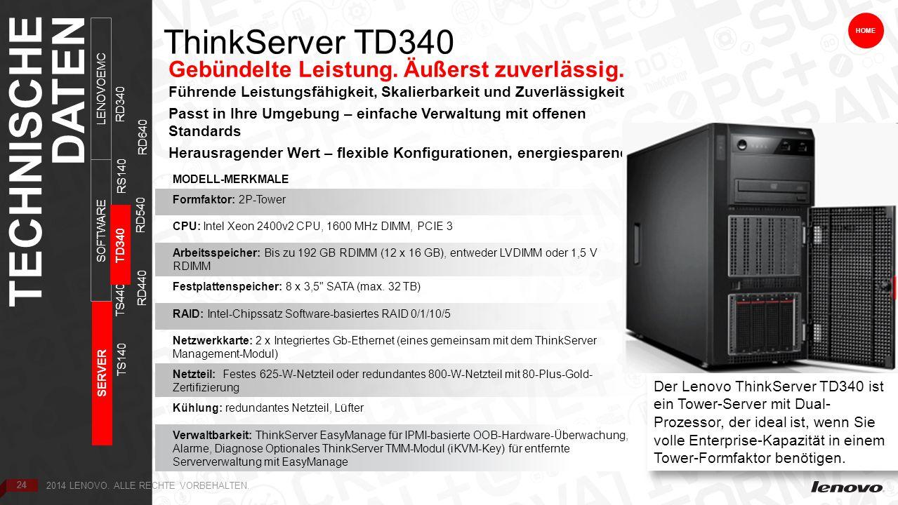 24 ThinkServer TD340 Gebündelte Leistung. Äußerst zuverlässig.