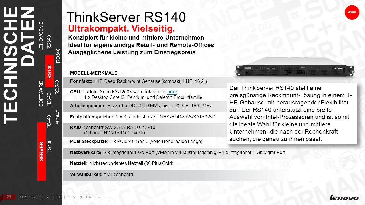 25 ThinkServer RS140 Ultrakompakt. Vielseitig.