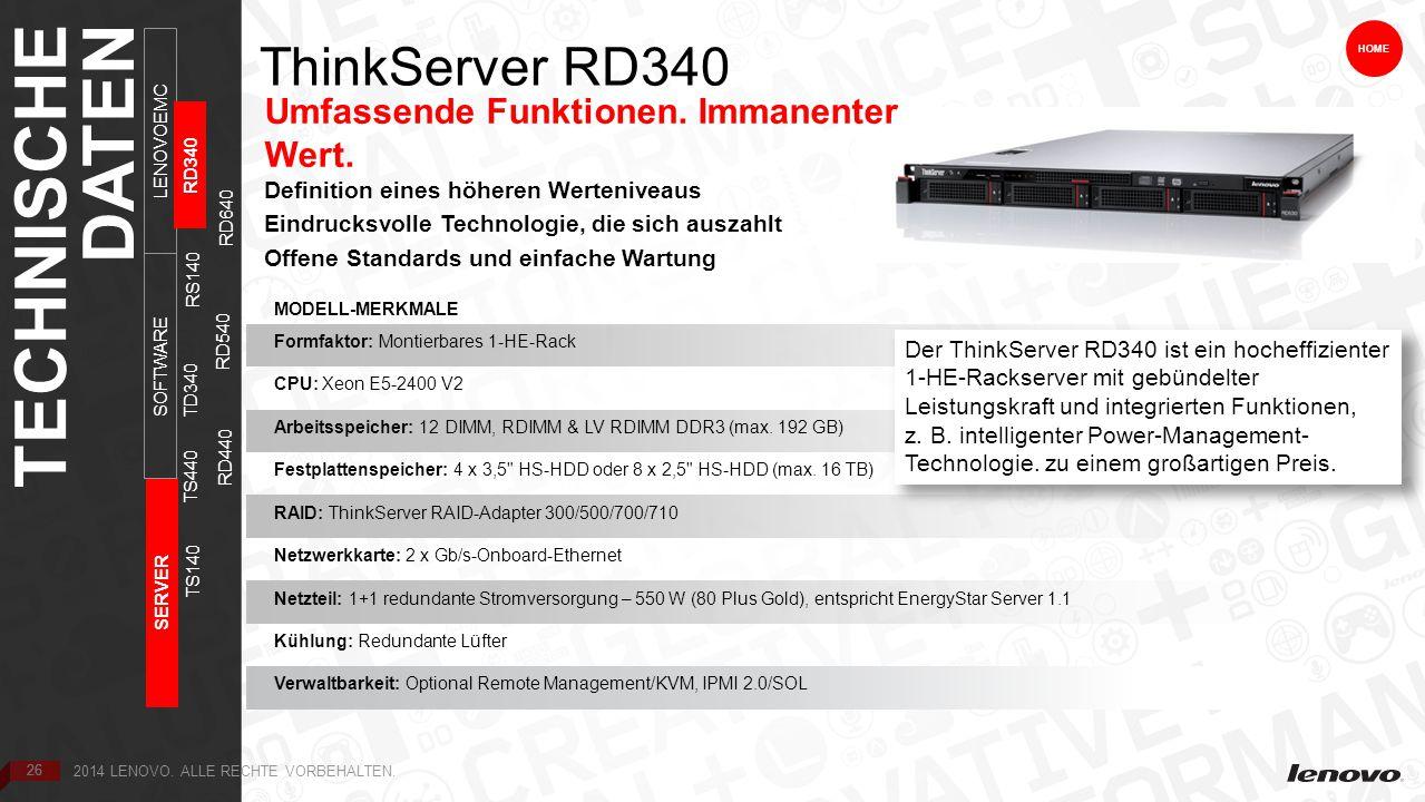 26 ThinkServer RD340 HOME Umfassende Funktionen.Immanenter Wert.