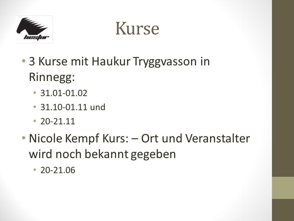 Kurse 3 Kurse mit Haukur Tryggvasson in Rinnegg: 31.01-01.02 31.10-01.11 und 20-21.11 Nicole Kempf Kurs: – Ort und Veranstalter wird noch bekannt gege