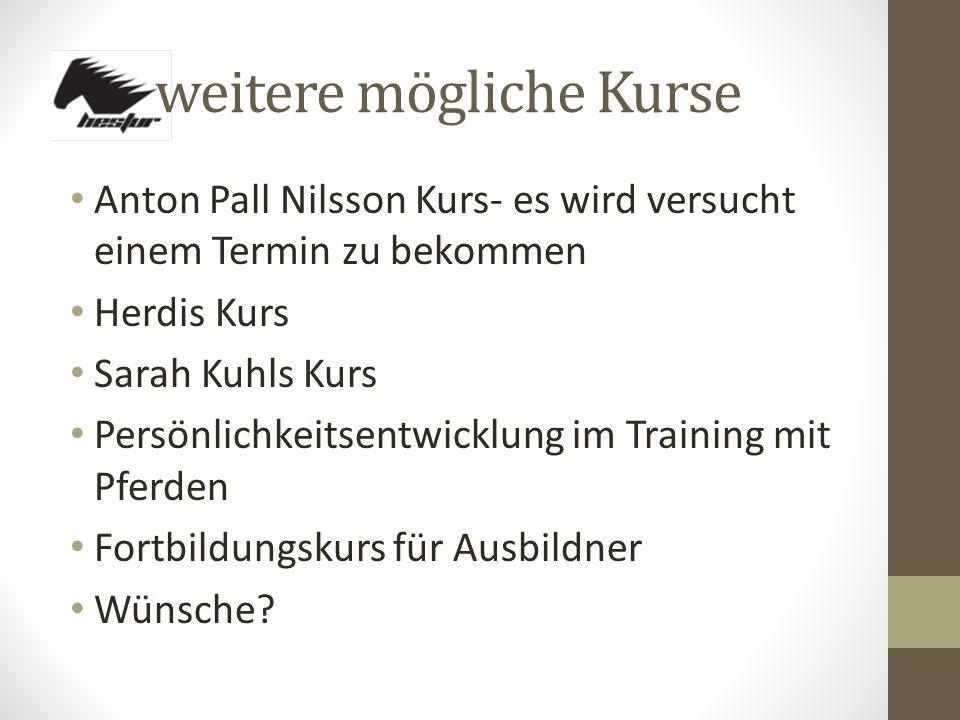 weitere mögliche Kurse Anton Pall Nilsson Kurs- es wird versucht einem Termin zu bekommen Herdis Kurs Sarah Kuhls Kurs Persönlichkeitsentwicklung im Training mit Pferden Fortbildungskurs für Ausbildner Wünsche?