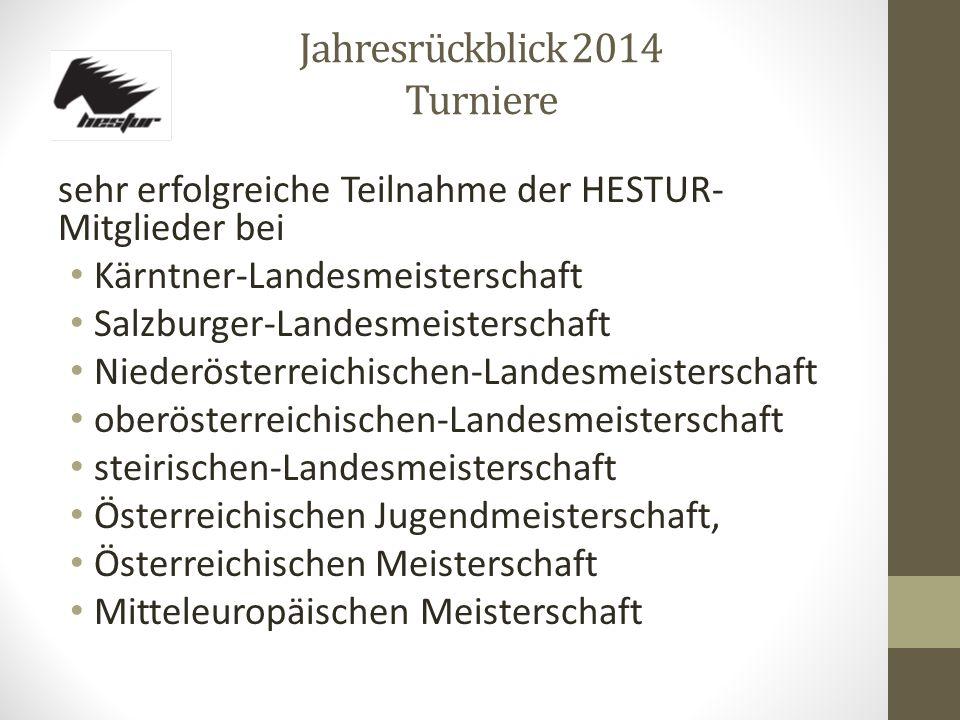 Jahresrückblick 2014 Turniere sehr erfolgreiche Teilnahme der HESTUR- Mitglieder bei Kärntner-Landesmeisterschaft Salzburger-Landesmeisterschaft Niede