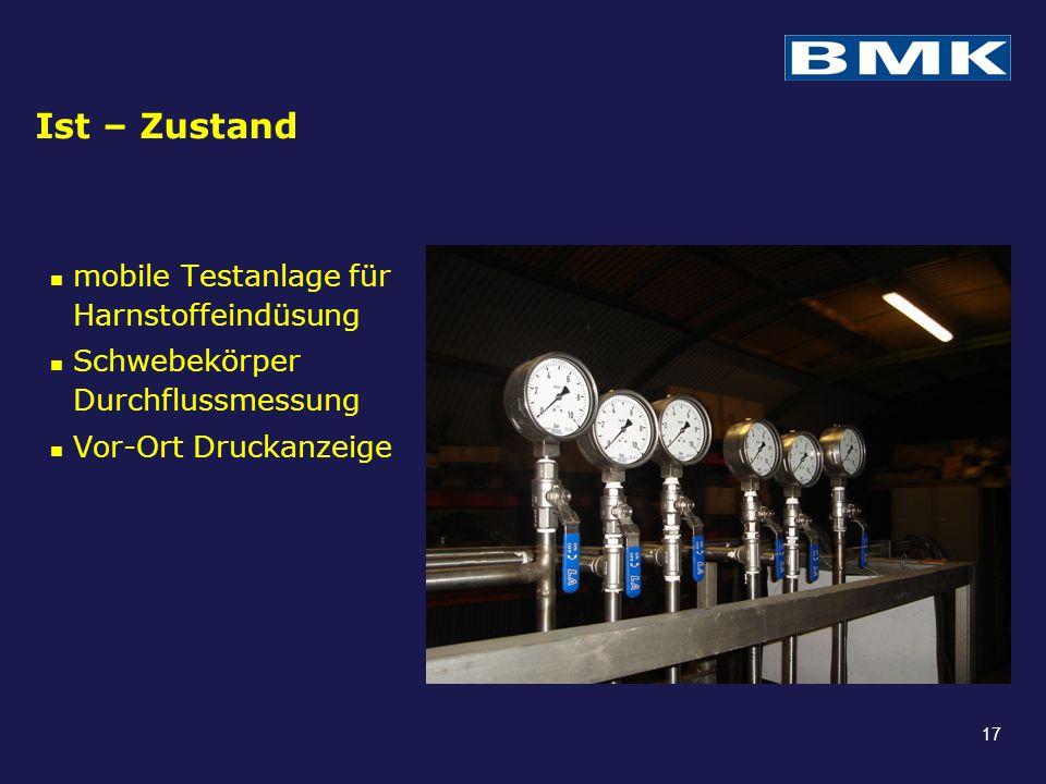 Ist – Zustand mobile Testanlage für Harnstoffeindüsung Schwebekörper Durchflussmessung Vor-Ort Druckanzeige 17