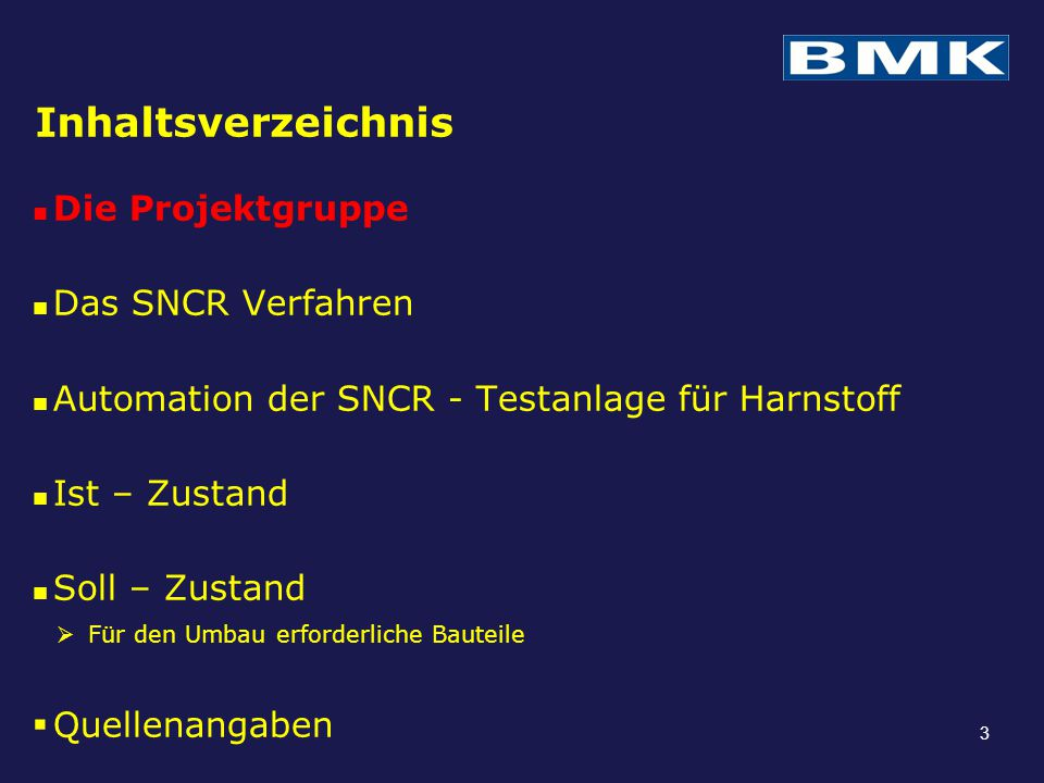 Inhaltsverzeichnis Die Projektgruppe Das SNCR Verfahren Automation der SNCR - Testanlage für Harnstoff Ist – Zustand Soll – Zustand  Für den Umbau erforderliche Bauteile  Quellenangaben 14