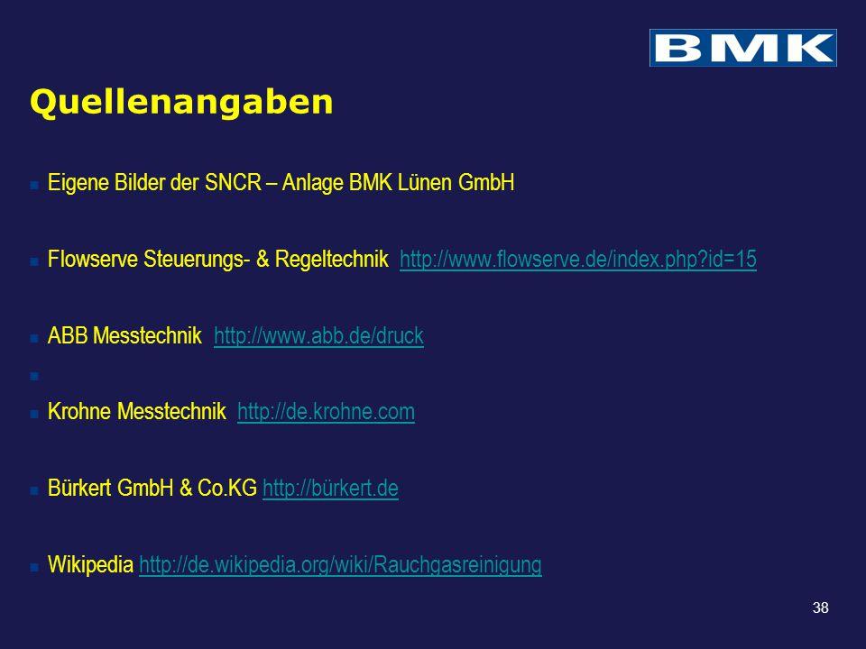 Quellenangaben Eigene Bilder der SNCR – Anlage BMK Lünen GmbH Flowserve Steuerungs- & Regeltechnik http://www.flowserve.de/index.php?id=15http://www.f