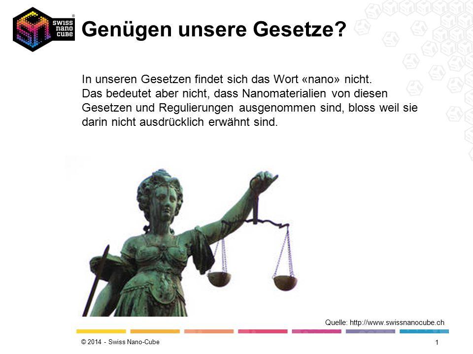 © 2014 - Swiss Nano-Cube Genügen unsere Gesetze? 1 Quelle: http://www.swissnanocube.ch In unseren Gesetzen findet sich das Wort «nano» nicht. Das bede