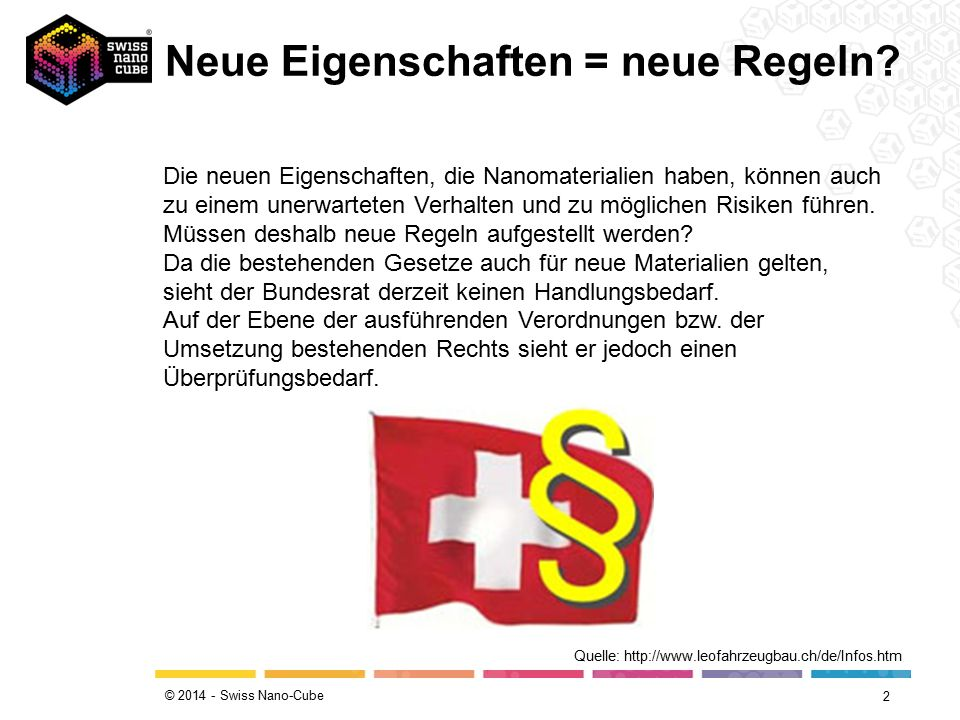 © 2014 - Swiss Nano-Cube Neue Eigenschaften = neue Regeln.