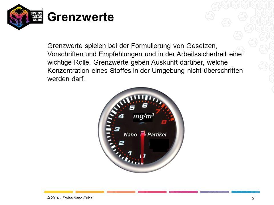 © 2014 - Swiss Nano-Cube Grenzwerte 5 Grenzwerte spielen bei der Formulierung von Gesetzen, Vorschriften und Empfehlungen und in der Arbeitssicherheit